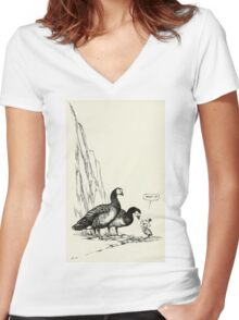 Barnacle gosling Women's Fitted V-Neck T-Shirt