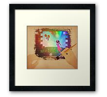 Hands drawing a picture with fairy Framed Print