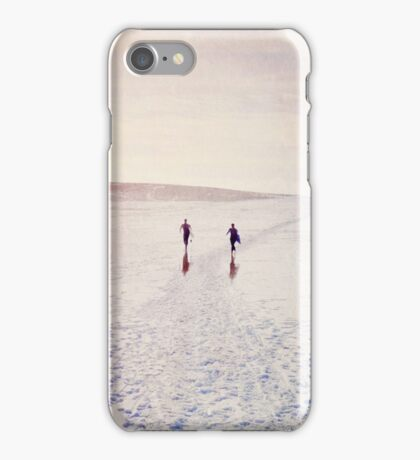 Surfers in the snow. iPhone Case/Skin