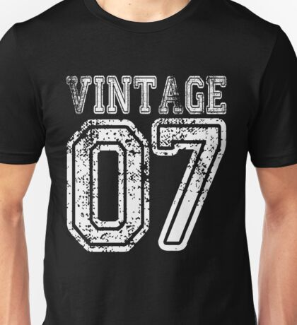 Vintage 07 2007 T-shirt Birthday Gift Age Year Old Boy Girl Cute Funny Man Woman Jersey Style Unisex T-Shirt