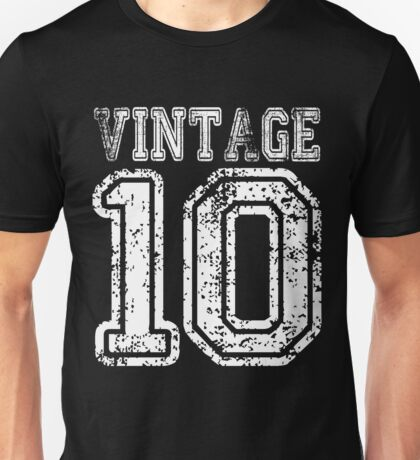 Vintage 10 2010 T-shirt Birthday Gift Age Year Old Boy Girl Cute Funny Man Woman Jersey Style Unisex T-Shirt