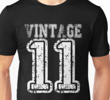 Vintage 11 2011 T-shirt Birthday Gift Age Year Old Boy Girl Cute Funny Man Woman Jersey Style Unisex T-Shirt