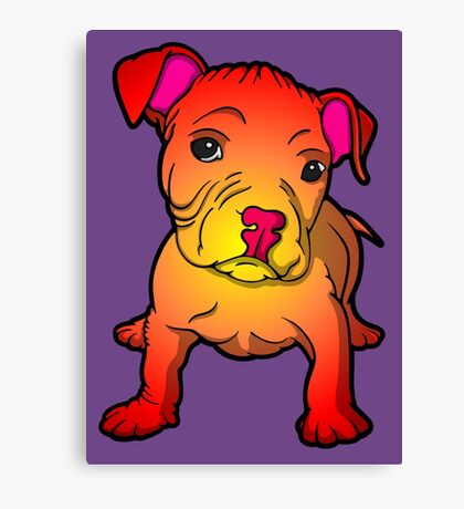 Sunset Bull Terrier Puppy  Canvas Print