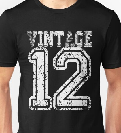 Vintage 12 2012 T-shirt Birthday Gift Age Year Old Boy Girl Cute Funny Man Woman Jersey Style Unisex T-Shirt