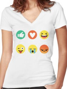 I Love Basketball Emoji Emoticon Graphic Tee Funny Women's Fitted V-Neck T-Shirt