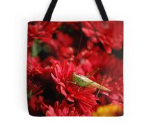 Grasshopper on a Red Flower 02 Tote Bag