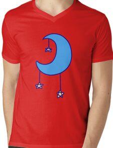 Blue Moon with Stars Mens V-Neck T-Shirt