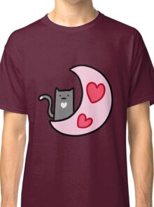 Heart Moon Blue Cat Classic T-Shirt