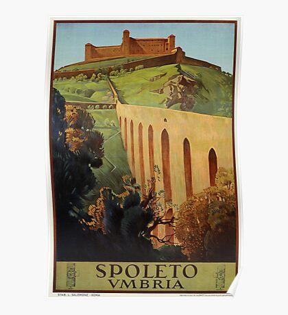 Vintage Spoleto Umbria 1920s Italian travel ad  Poster