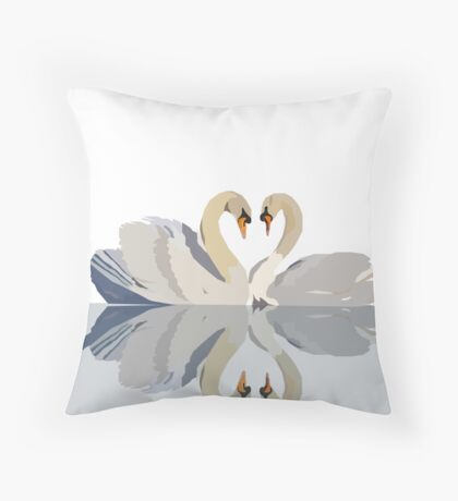 Perfect Pair of Swans Throw Pillow