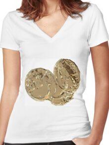 Golden Smiles  Women's Fitted V-Neck T-Shirt