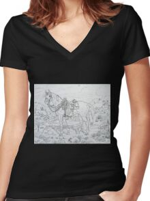 The Cow Pony pen and ink Women's Fitted V-Neck T-Shirt