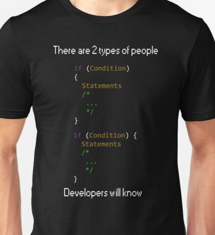 There are 2 types of people developers will know Unisex T-Shirt