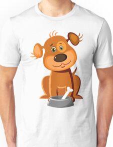 Cute dog with a bone Unisex T-Shirt