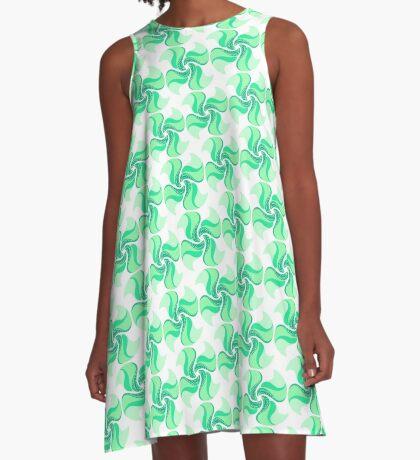 Teal Pinwheels A-Line Dress