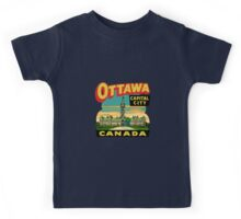 Ottawa Ontario Canada Vintage Travel Decal Kids Tee