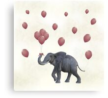 Elephant With Balloons Canvas Print