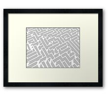grey and white labyrinth pattern Framed Print