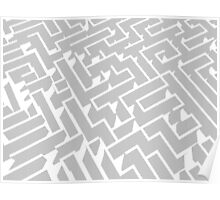 grey and white labyrinth pattern Poster