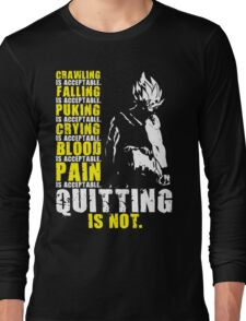 Quitting Is Not Acceptable - Ripped Saiyan Back (White) Long Sleeve T-Shirt