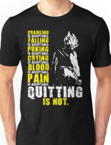 Quitting Is Not Acceptable - Ripped Saiyan Back (White) Unisex T-Shirt