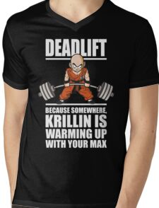 Deadlift - Krillin Is Warming Up With Your Max Mens V-Neck T-Shirt