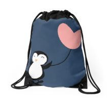 Penguin in Love blue Drawstring Bag