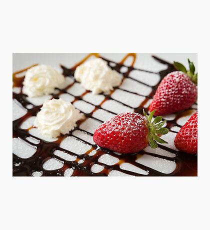 Close up of strawberries and whipped cream Photographic Print