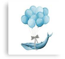 Whale With Balloons - blue Canvas Print