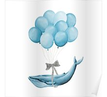 Whale With Balloons - blue Poster