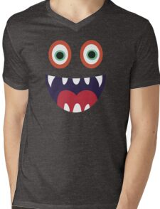 Cool Happy Monster Face T-shirt Cute Smily Face Kids Tshirt Mens V-Neck T-Shirt