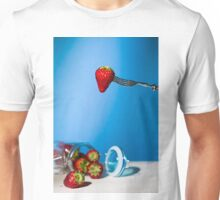 Strawberry suspended from a fork and under a jar of strawberries Unisex T-Shirt