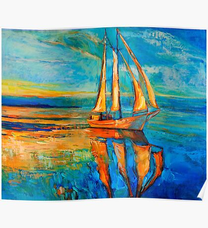 Sailing in the early evening light Poster