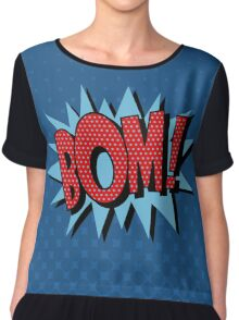 Comics Bubble with Expression Bom in Vintage Style Chiffon Top