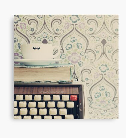 Coffee Cup on Typewriter Canvas Print
