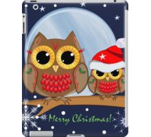 Cute Christmas Owls & Merry Christmas text iPad Case/Skin