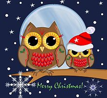 Cute Christmas Owls & Merry Christmas text by walstraasart