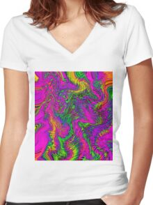 pink blue green orange yellow curly line drawing abstract background Women's Fitted V-Neck T-Shirt