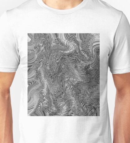 black and white curly line drawing abstract background Unisex T-Shirt
