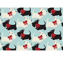Black and Wheaton Scotties (blue) by BonniePortraits