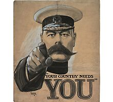 """""""Your Country Needs You"""" British WWI Poster Photographic Print"""