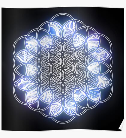 Sacred Geometry Flower of Life Ice Glow Poster