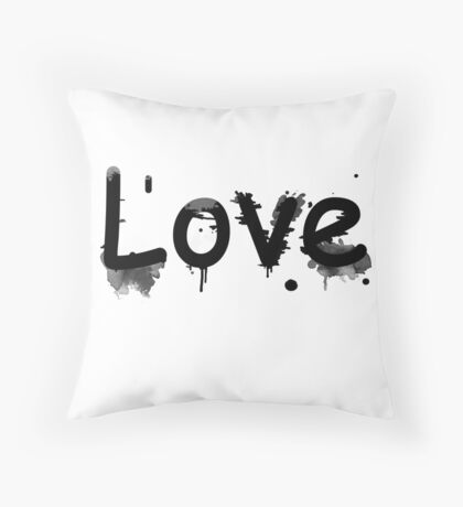Black and white pattern Love . Throw Pillow