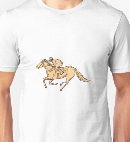 Jockey Horse Racing Side Mono Line Unisex T-Shirt