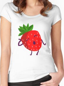 Dramatic Strawberry Women's Fitted Scoop T-Shirt