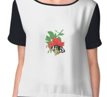 Red Hibiscus Flower and Birdwing Butterfly Chiffon Top
