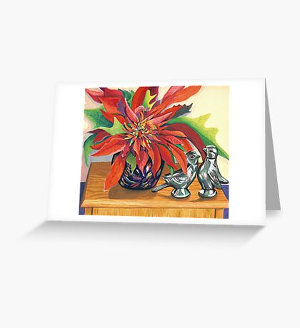 Lovebirds with Poinsettia Greeting Card