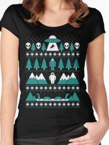 Paranormal Christmas Sweater Women's Fitted Scoop T-Shirt