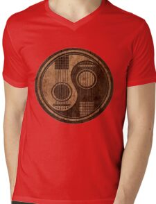 Wooden Bass Guitar T Shirt - Music Pulse, Notes, Clef, Frequency, Wave, Sound, Dance Mens V-Neck T-Shirt