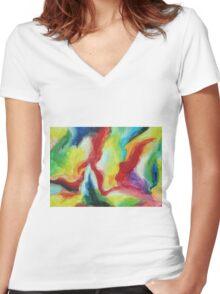 """Echo"" original artwork by Laura Tozer Women's Fitted V-Neck T-Shirt"